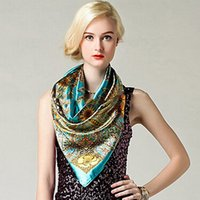 "Cheap Wholesale-Hot Women Big Square Silk-like Satin Large Scarf Wrap 35""*35"" Printing Shawl"