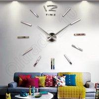 Wholesale 50Lots DIY Analog D Large Wall Clock Modern Design Big Cat Feet Mirror Surface Sticker Home Decoration LLA172