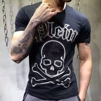 Wholesale Men s Skull T shirts stone skull Cotton Tee Shirts Short Sleeve Top Brand New with tags size M L XL XXL