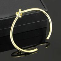 Wholesale Knotting Cuff Bangle Bracelet For Men Or Women l Stainless Steel K Yellow Rose White Gold Plated Hot Selling New Fashion Jewelry