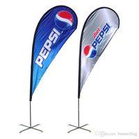 Wholesale Double Side Teardrop Beach Flags x155cm Spike Feet Teardrop Flags Screw Feet Beach Flags Aluminum Advertising Beach Flags POS