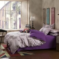 Wholesale Bedding Sets Cotton Set Purple Urban Style Good Quality Soft Comforter Cover Bed Set Queen Full Size Drop Shipping