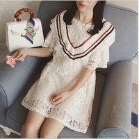 Cheap 2016 Women Summer New Style Flare Sleeve Slim Lace A-line Dress Best Sale Women Korean Style Elegant Sweet Dress Women Wholesale Clothing