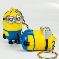 anchor sound - New Arrival Minion LED Light Keychain Key Chain Ring Kevin Bob Flashlight Torch Sound Toy Despicable Me Kids Christmas Promotion Gift