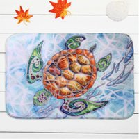 Wholesale Non slip Bath Mat Coral Velvet Rug Shower Carpet x60cm Sea Turtles Cartoon Mats for Bathroom Kitchen