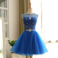Wholesale Jewel Neck Beaded Crystal Homecoming Dress Knee Length Ball Gown Party Dress Lace Up Back