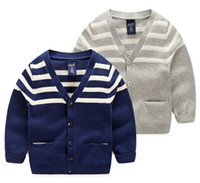 Wholesale Handsome Look V Neck Striped Sweaters Little Boy Cardigan with Pockets Colors Gray Dark Blue