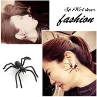 Wholesale Men WomenFashion Personalized black spider earrings
