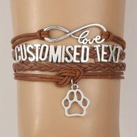 bangles cats - Infinity Love Customised Text Bracelets Bangles Animal Paw Charm Handmade Bracelet Dog Cat Tiger etc Name Custom