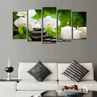 Wholesale 5pcs set Stones Flowers Candles Canvas Art Print Poster Sport Yoga Fitness Gym Wall Pictures For Home Decoration Frame not include
