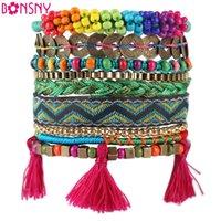 bar news - Bonsny Autumn Winter Handmade Bracelet Women Bohemian Brand Bangle Weave Fashion Bracelets News Jewelry For Girl