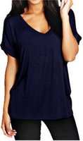 Wholesale Sexy Women Summer Loose T Shirt V Neck Solid Short Sleeve Shirt Blouse Casual Tee Tops Female T Shirt