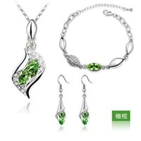 aqua drop earrings - 2016 Top Quality Jewelry Elegant Luxury Design Jewelry New Fashion White Gold Plated Colorful Austrian Crystal Drop Jewelry Sets Women Gift