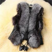 Wholesale 2016 Black Faux Fur Vest Warm Winter Fur Jacket Coats for Women Fashion Female Fur Vest CT041