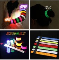 armed security - Color LED Lighted Wristband Luminous Bracelets Nocturnal Band Running Security Arm Band Fluorescence Switch Control For Party