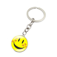 Glass Face Zinc Alloy Smiling face Silver Plated Key Chain Ring Glass Dome Pendant Funny Emoji Pattern Key Chain Fashion Jewelry Car Key Chain for Men Women