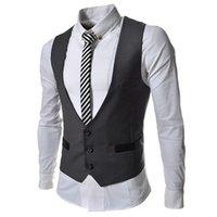 Wholesale 2016 Spring new fashion Pocket Panelled slim Men s vests Casual men s Outerwear men s cost dark gray
