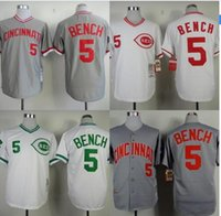 bench shirt - Retro Cincinnati Reds jersey Johnny Bench throwback TB Shirts Gray White Vintage Embroidery and Sewing by m n