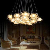 Wholesale lustres de sala modern glass dining room living room pendant lights lamp lustre de teto home led fixture glass lights lampadari