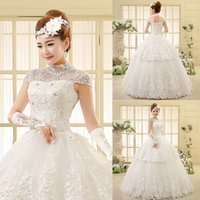 ball stands - 2016 Wedding Dressees Vintage Stand Collar Beading Crystal Short Sleeve Floor Length Princess Bridal Ball Gown Custom Size Dresses YL