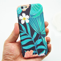 banana trees - 8 Style Girl Vintage Fashion Phone Case Fresh Tropical Palm Tree Banana Leaf Flamingo Print Hard Slim Skin Covers For iPhone S Plus