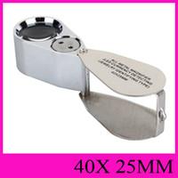 Todo de metal lupa LED de la moneda que detecta la joyería indicará el tipo de joya 40X25MM Iluminador lupas de mano portátil NO.9890 lupa