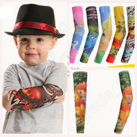 arm warmers kids - Children Tattoo Sleeves Temporary Fake Outdoor Oversleeve Cartoon Printing Arm Sleeves Elastic Arm Warmer For Kids Girls Boys OOA486