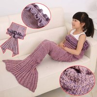 Wholesale Hot Mermaid Tail Blankets Kids Acrylic Knitted Blanket Girls Mermaid Sofa Mat Crochet Garon Blanket For Kids