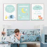 baby wall quotes - Modern Kawaii Animals Hippo Moon Quotes Canvas A4 Art Print Poster Nursery Wall Picture Kids Baby Room Decor Painting No Frame