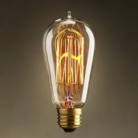 Wholesale Vintage Antique Style Retro Edison Incandescent Filament Light Bulb Home Deco lignting Fixture E27 V W ST64