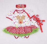 Bébés garçons Filles Combinaisons de Noël Bébé nouvel an Barboteuses en coton Enfant robes vêtements enfants porter pompon jupe 3 pièces GLS012A