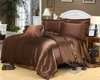 Wholesale dark brown pure color Shuangpin Tencel silk Bedding article sheet