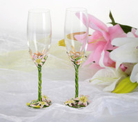 antique champagne flutes - 2pcs Famous S Crystal fashion Unleaded wedding wine glass with gift box champagne glasses for banquet feast party wine glass