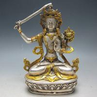 antique gilt - Chinese Silver Bronze Gilt Tibetan Buddhism Statue Manjushri Buddha