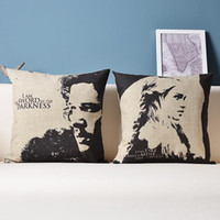 Wholesale Game Of Thrones Jon Snow Kit Harington Daenerys Targaryen Emilia Clarke Cushion Covers Linen Cotton Pillow Cover Decorative Sofa Pillowcase