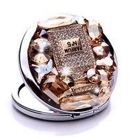 Wholesale 10Pcs Luxury perfume bottle gem Rhinestone Make Up Mirror Stainless Steel Frame Double Sided Enlarg Compact Mirror