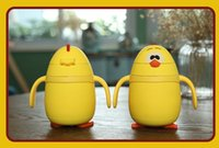 Wholesale IN STOCK Stainless steel glass child cup Chickens straw keep warm cup infant child glass cup cartoon children creative gift DHL SEND