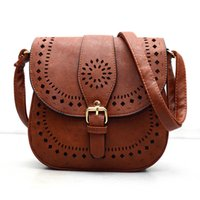 Wholesale Small Casual women messenger bags PU hollow out crossbody bags ladies shoulder purse and handbags bolsas feminina COLORS BLACK COFFEE