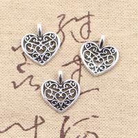 Wholesale 200pcs Charms hollow heart mm Antique Making pendant fit Vintage Tibetan Silver DIY bracelet necklace