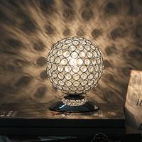 Wholesale Modern K9 Crystal Table Lamp Bedside Living Room Office Lampshade Decoration Lighting E27 AC85 V