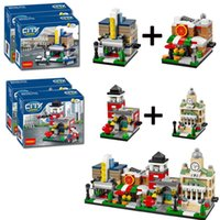 Wholesale Decool Mini Scene Movie Theaters Pizza Shop Fire Station town Hall Blocks Toy Gift Compatible with Lepin Sluban LEGOelid