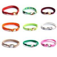 achat en gros de bracelets de zinc pour les hommes-2016 Nouveau Paracord Bracelet Pour Hommes / Femmes Zinc Alliage Bracelets Or / Argent Plaqué DIY Amitié Wrap Bracelets 19Colors Handmade