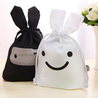 Wholesale New Fashion Creative Lovely Rabbit Shaped Ninja Pattern Storage Bag with Drawstring Black and White Collecting Bag