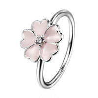 Wholesale Pink Enamel Flower Zircon Ring European Silver Pandora Jewelry Rings For Women Birthday Wedding Anniversary Gift