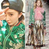 Wholesale Fall new women s fashion luxury green satin embroidered baseball uniform jacket short coat