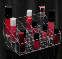acrylic makeup display - 24 Lipstick Holder Display Stand Clear Acrylic Cosmetic Organizer Makeup Case Sundry Storage makeup organizer organizador
