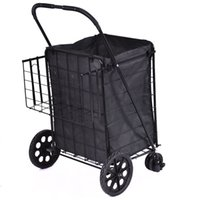 basket grocery - Folding Shopping Cart Jumbo Swivel Wheels Extra Basket Trolley Grocery Laundry
