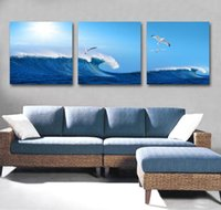 artist groups - 3 Piece Wall Art Abstract Seascape Beach Wave Group printed Painting On Canvas For spray Decor Artist Painting Reproductions