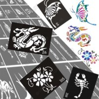Wholesale 30pcs Glitter Airbrush Tattoo Stencil Templates Flowers Butterflies Dragon Skull Cartoon Sexy Women Men Kids Tattoo Stencils