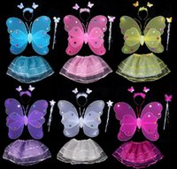 Wholesale 2016 New Halloween Children Kids Costume Set Double Layer Angle Butterfly Fairy Wings Magic Wand Headband Birthday Party Gift With Multi Cor